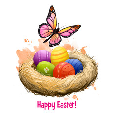 Happy Easter digital banner. Spring butterfly and decorated easter eggs in nest isolated on white. For posters, banners, greeting cards. Clip art illustration. Postcard element in cartoon style