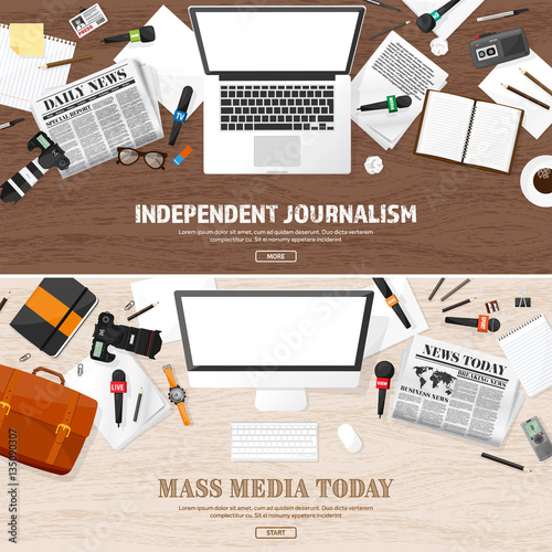 Mass Media Background In A Flat StylePress Conference With Correspondent And ReporterBroadcasting