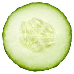 fresh juicy slice cucumber on a white background, isolated