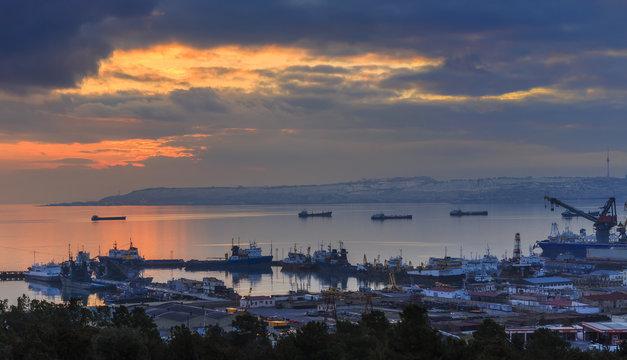 Baku panorama at sunset.Azerbaijan