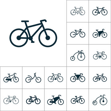 bicycle icon, bike set on white background