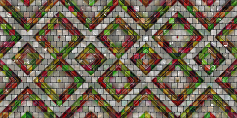 Tiles on the wall with a pattern of colored lozenges