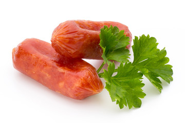 Peperoni or salami, parsley sausage. Isolated on white backgroun