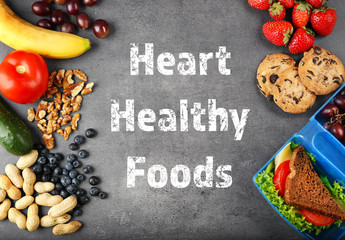 Diet for healthy heart concept. Food on gray background