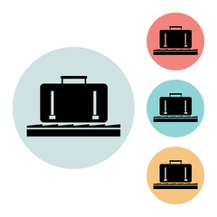 luggage at the airport icon isolated vector sign symbol, on blue, red, yellow background. Airport elements icons. Can be used in logo, UI and web design