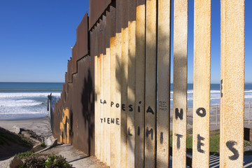 U.S. - Mexico border fence at the beach in Tijuana