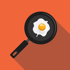 Fried eggs in a pan flat style with long shadow isolated on orange background. Breakfast elements vector sign symbol