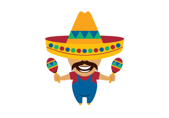 Mexican man cartoon character. Mexican vector. Mexican musician vector illustration
