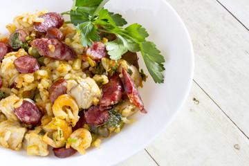 Peasant paella in the pan