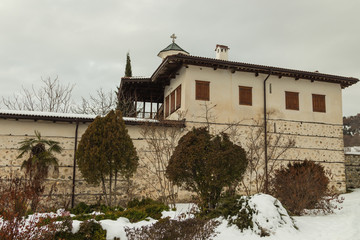 Outside view of Rozhen Monastery, was founded in 9th century, Nativity of the Mother of God, Blagoevgrad region, Bulgaria