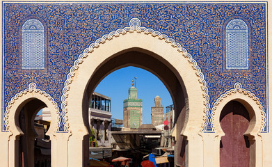 Bab Bou Jeloud gate (or Blue Gate) in Fez el Bali medina, Morocco