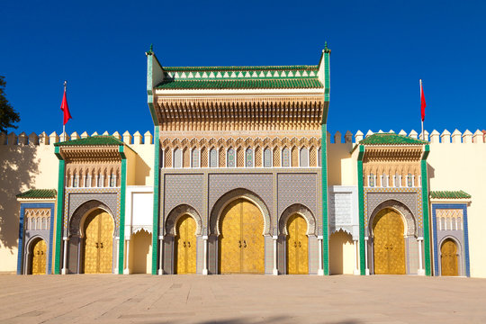 Golden doors of Dar el Makhzen, Royal Palace in Fez, Morocco
