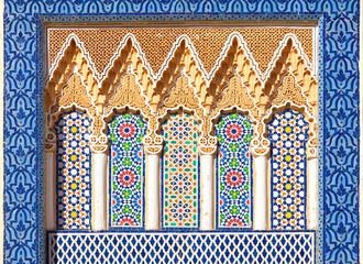 Arabesque decoration on the facade of the Royal Palace of Fez, M