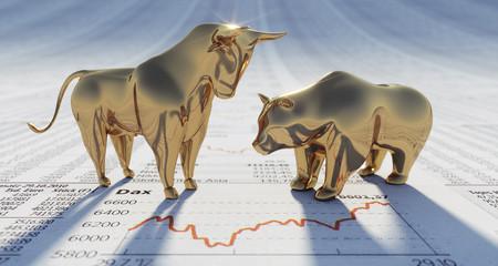 Goldener Bulle und Bär auf Börsenkursen