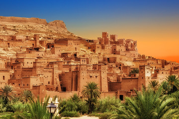 Poster Morocco Kasbah Ait Ben Haddou in the Atlas mountains of Morocco. UNESCO World Heritage Site