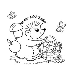 Coloring Page Outline Of cartoon hedgehog with basket of mushrooms in the meadow with butterflies. Coloring book for kids
