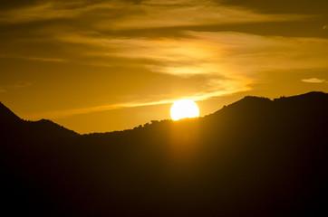 Sunrise with silhouette of hills near Huesca in Saragossa Provin