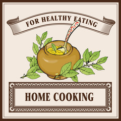 Home cooking logo banner template. Porridge in ceramic pot with