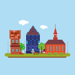 Image of a country town in a flat style. Urban landscape. Vector, illustration EPS10.
