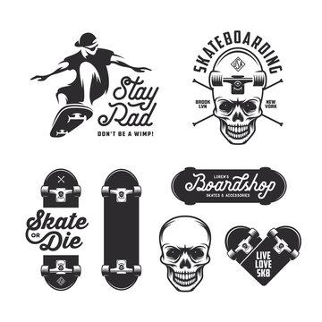 Skateboarding labels badges set. Vector vintage illustration.
