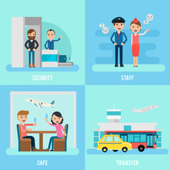 People In Airport Flat Concept