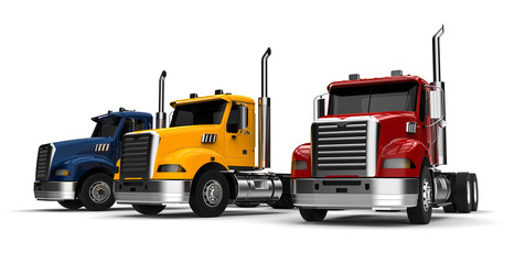 Trucks Fleet concept / 3D render image representing a fleet of trucks