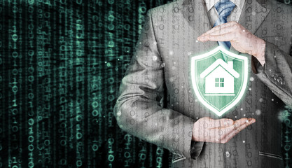 House protection and insurance. Home shield. Real estate safety.Matrix background.