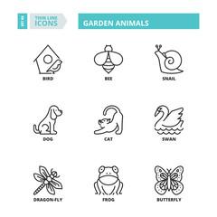 Thin line icons. Garden animals