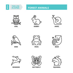 Thin line icons. Forest animals