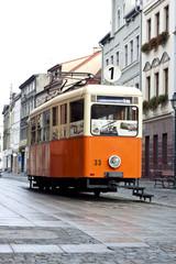 Historic Tram in Bydgoszcz Center - Poland