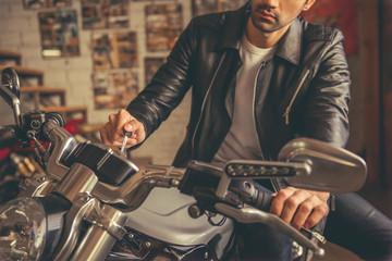 Handsome young biker