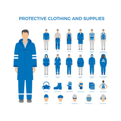 Vector set of men in protective clothes and icons of safety equipment. Flat icons for construction and other industries.