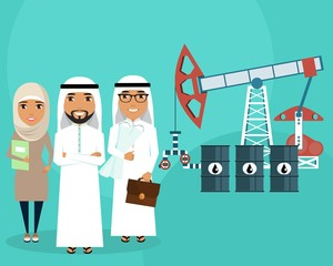 The development of oil fields. A group of people of Arab nationality. Professionalism. Successful people.