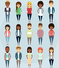 people, set, group, business, person, different, background, flat, cartoon, female, team, social, casual, community, white, diverse, big, communication, male, human, race, glasses, bright, hairstyles,