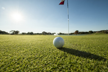 Golf ball on green low angle