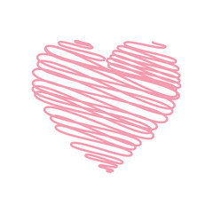 Heart - pencil scribble sketch drawing in pink on white background. Valentine card doodle concept. Vector illustration.