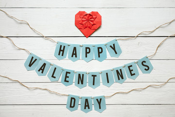 Red paper folded origami heart, Happy Valentines day banner garl