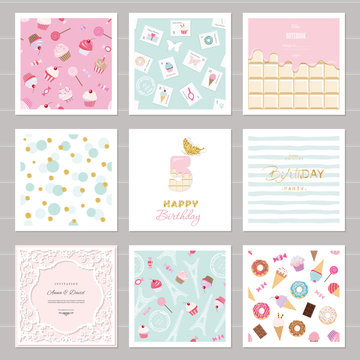 Cute card templates set for girls. Including frames, seamless patterns with sweets. birthday, wedding, baby shower design.