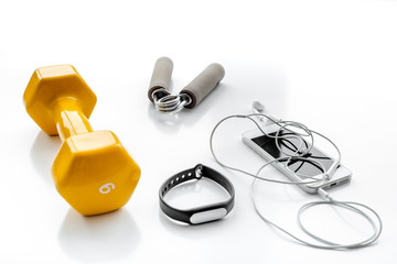 concept preparing to fitness sports equipment top view