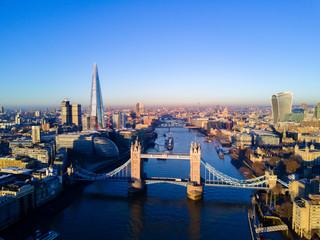 Aerial view of the Tower Bridge, London, UK