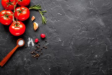concept cook work on dark background top view mock up