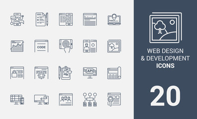 Web design development line icons.
