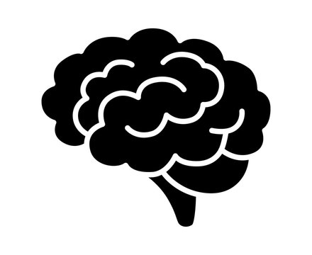 Brain or mind side view flat vector icon for medical apps and websites