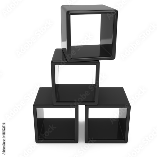"""Product display black boxes. 3D render isolated on white ..."