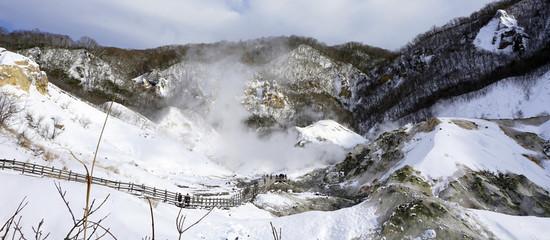 Noboribetsu  pano hell valley and bridge panorama