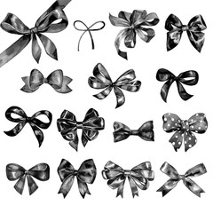Watercolor bow big set. Different black bows and ribbons for holidays, greeting, celebration as Christmas, birthday, Valentines day, wedding.