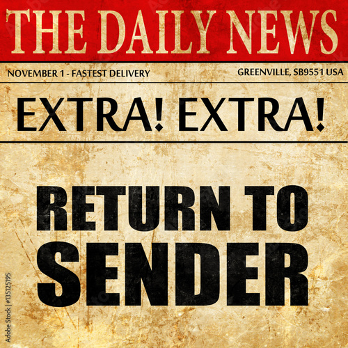 Return To Sender Newspaper Article Text Stock Photo And