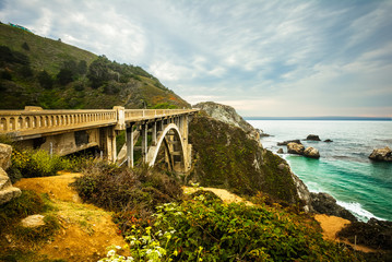 Rocky Creek Bridge Big Sur, California, USA - The Rocky Creek on the Pacific Coast Highway One in California