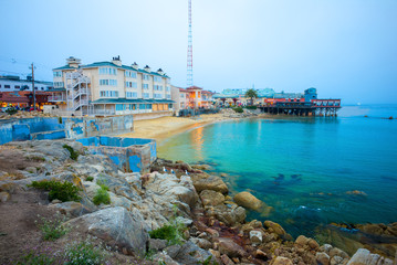 Beach & Building on Cannery Row in Monterey, California, USA