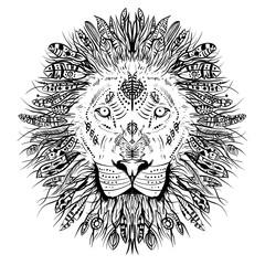 lion line vector illustration